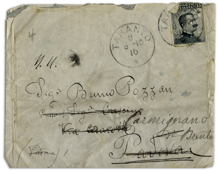 Rudolph Valentino Autograph Letter Twice-Signed With His Real Name Rodolfo, as a 15-Year Old -- ''...I don't do anything except go to the Cafe-Chantant and have fun with the singers there...''
