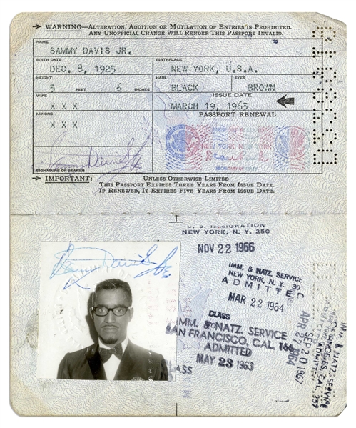 Sammy Davis, Jr. Twice-Signed Passport Issued in 1963 -- With Dozens of Stamps Documenting His Travels Throughout the 1960s