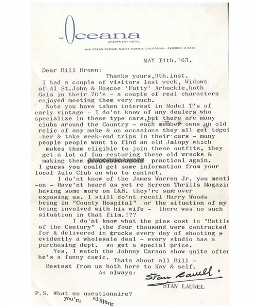 Stan Laurel Letter Signed With His Full Signature, ''Stan Laurel'' -- ''...I do'nt know what the pies cost in 'Battle of the Century', the four thousand were contracted for & delivered in trucks...''