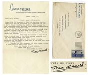 Stan Laurel Letter Signed With His Full Signature, Stan Laurel -- ...Its very difficult to say which film I liked best - its like asking someone with I2 kids, which they like best!...