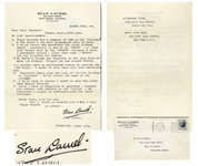 Stan Laurel Letter Signed With His Full Signature Stan Laurel on His Personal Stationery -- ...Mr Hardys weight was heaviest in the last Film we made...Utopia, he was around 360 lbs...