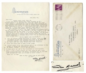 Stan Laurel Letter Signed With His Full Signature Stan Laurel -- ...I dont recall Ollie ever getting mad at any reference to his weight or having any inferiority complex...