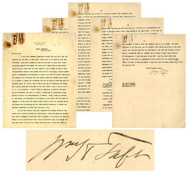 Excellent William Taft Letter Signed Regarding the League of Nations -- ''...I am not obsessed by hatred...A good many have been trying to arouse the Jews against the League...''