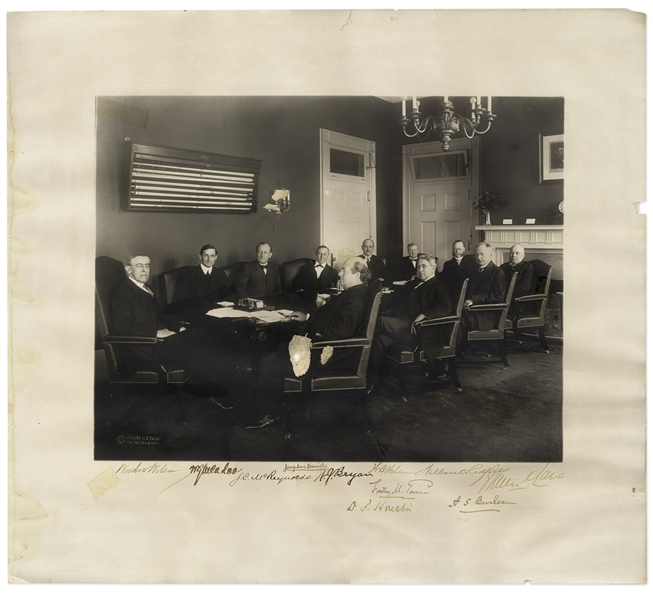 Woodrow Wilson Cabinet Photo, Signed by All 11 Men Including Wilson -- From Early in Wilson's First Term -- Measures 17.5'' x 15.75'' -- With JSA COA