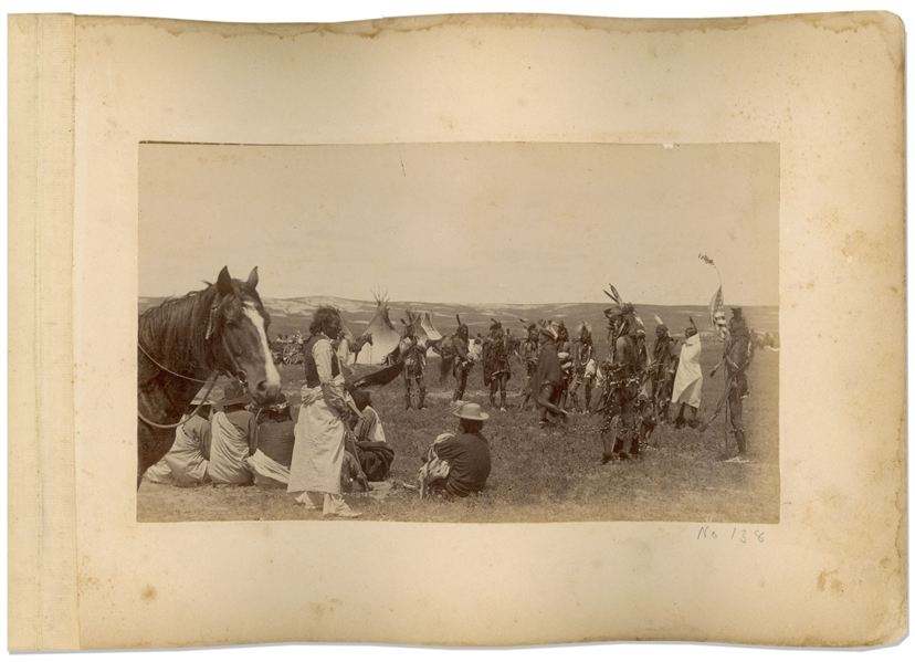 Two Original Photographs From 1891, Shortly After the Wounded Knee Massacre -- One Photograph Shows Captain Charles Taylor With His Indian Scouts