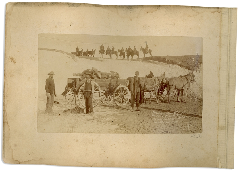 Two Original Wounded Knee Photographs From 1890 and 1891, Shortly After the Massacre -- One Grisly Photograph Shows the Dead Being Hauled Away in a Wagon