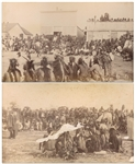 Two Original Sioux Photographs From 1891, Shortly After the Wounded Knee Massacre -- One Photograph Depicts Plenty Horses at an Omaha Dance at the Pine Ridge Agency