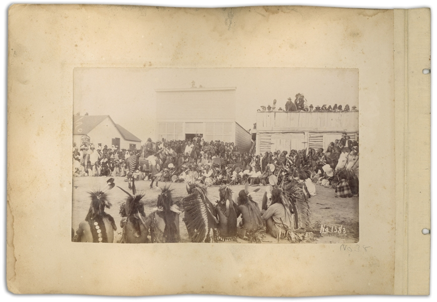 Two Original Sioux Photographs From 1891, Shortly After the Wounded Knee Massacre -- One Photograph Depicts ''Plenty Horses at an Omaha Dance'' at the Pine Ridge Agency