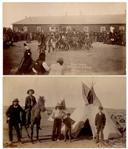Two Original Photographs From 1891, Shortly After the Wounded Knee Massacre -- One Photograph Identified as Sioux Indians Dancing the Scalp Dance / P.R. Age S.D.