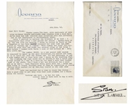 Stan Laurel Letter Signed -- ...there are several clips of the films I made before I teamed with Hardy & some of him without me - many many years ago...