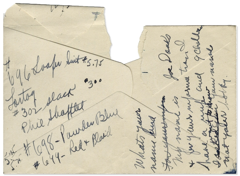 Moe Howard Lot of Handwritten Notes, Signed Once -- Jokes, Phone #'s, Speech Notes, Etc. on 3 Paper Fragments: 4'' x 5.75'' Envelope, 3'' x 4.75'' Paper & 8.5'' x 5.5'' Paper -- Good to Very Good