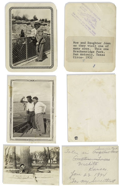 Lot of 30 Personal Moe Howard Family Photos, Approximately 3'' x 4'' -- His Wife & Children, Brother Irving & One of His Sister-in-Law Lil Taken the Same Day He Met His Future Wife Helen -- Very Good