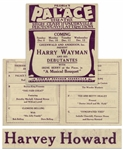Very Rare 1923 Vaudeville Program With Moe Billed as Harvey Howard in the Syncopated Toes, His Brief Act With Shemp and Ted Healy -- Program Also Lists an Act With Ted & Betty Healy