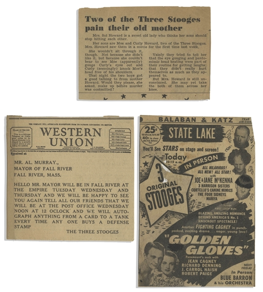 Moe Howard's Newspaper Clippings and Telegrams from 1935-1940 -- Dozens of Clippings & 5 Telegrams, Most Sent to Moe in 1939 When The Three Stooges Debuted in London -- Very Good Condition