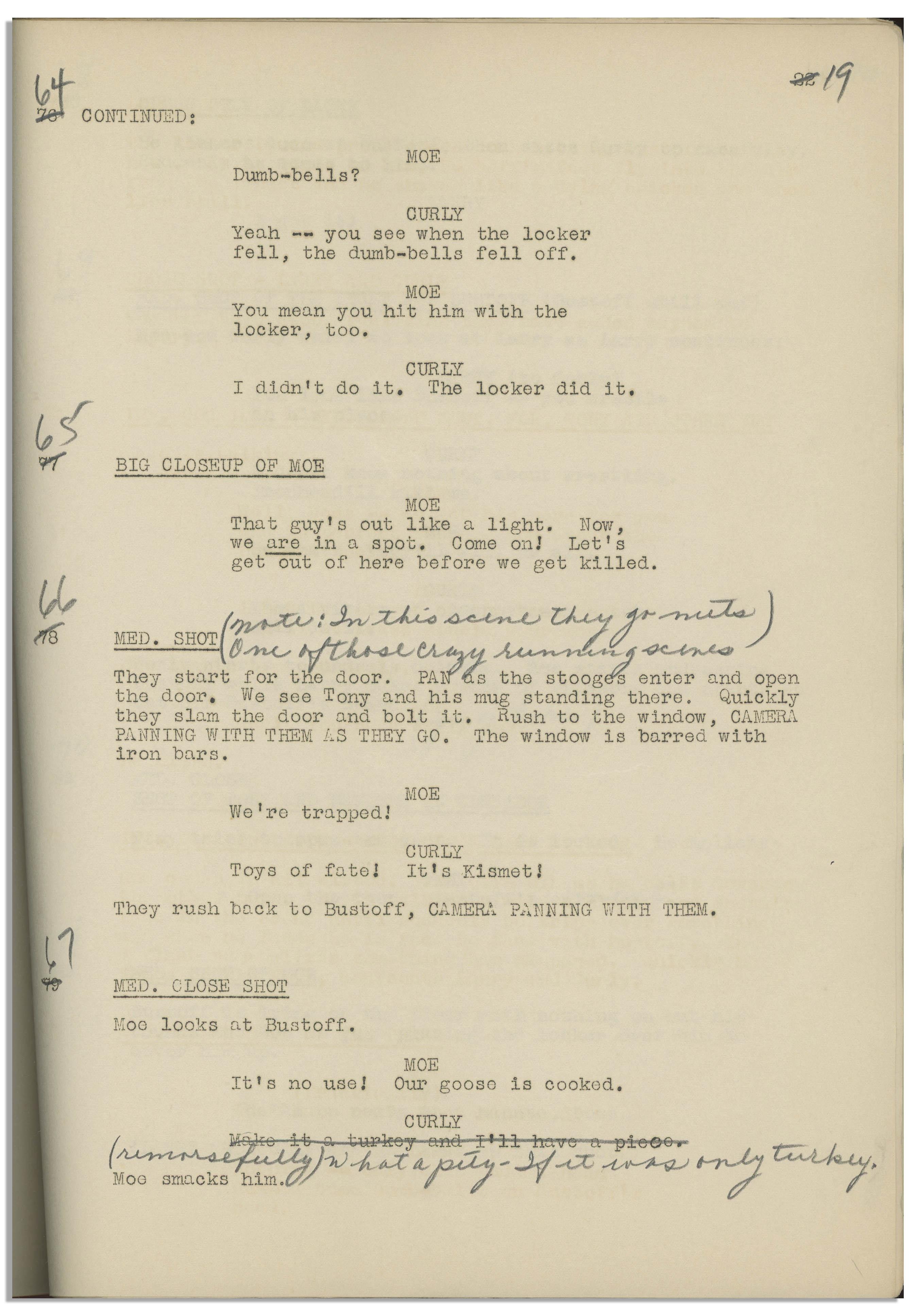 Lot Detail - Moe Howard's 29pp  Script Dated October 1936