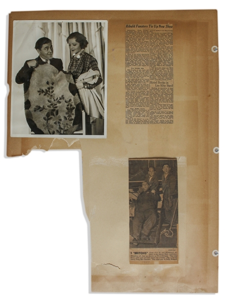 Ten 18'' x 24'' Scrapbook Pages With Moe's News Clippings From 1936-39, Including Their Reaction to Ted Healy's Death -- Also With 8'' x 10'' Photo of Moe -- Large Paper Loss to 1 Sheet, Overall Good