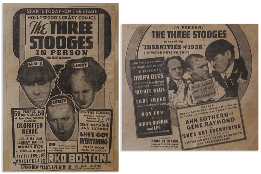 Circa 1937 Handbill Measuring 8.75'' x 6'', for a 3 Stooges Show, Glued to 18'' x 24'' Scrapbook Sheet With Moe's News Clippings From 1937 -- Chipping & Toning, Overall Good