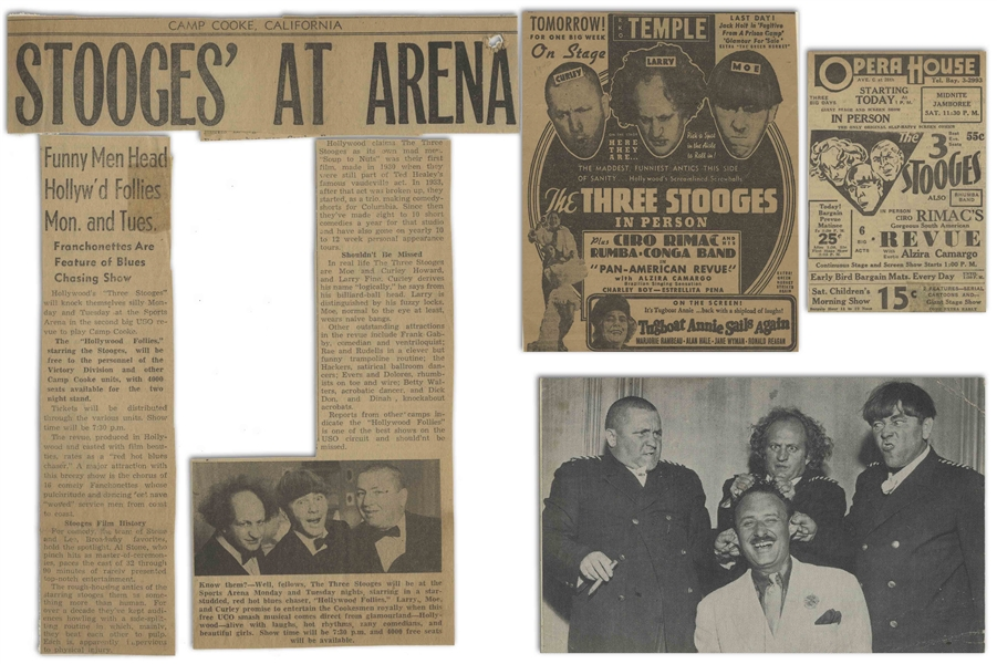 Approximately 80 of Moe Howard's Newspaper Clippings From His Scrapbook, During the 1940s -- Also With 3pp. of Notes From Scrapbook Cataloging Clips -- Very Good Condition