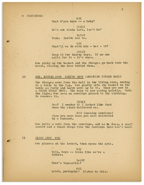 Moe Howard's 29pp. Script Dated April 1942 for The Three Stooges Film ''Sock-a-Bye Baby'' -- With Annotations & Drawings by Moe on Back Cover -- Very Good