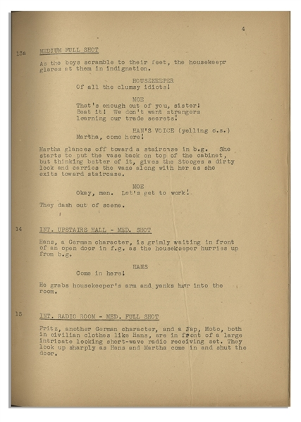 Moe Howard's 33pp. Script Dated April 1942 for The 1943 Three Stooges Film ''They Stooge to Conga'' -- With Original Writing on Cover & Title Page -- Archival Repair to Cover, Else Very Good