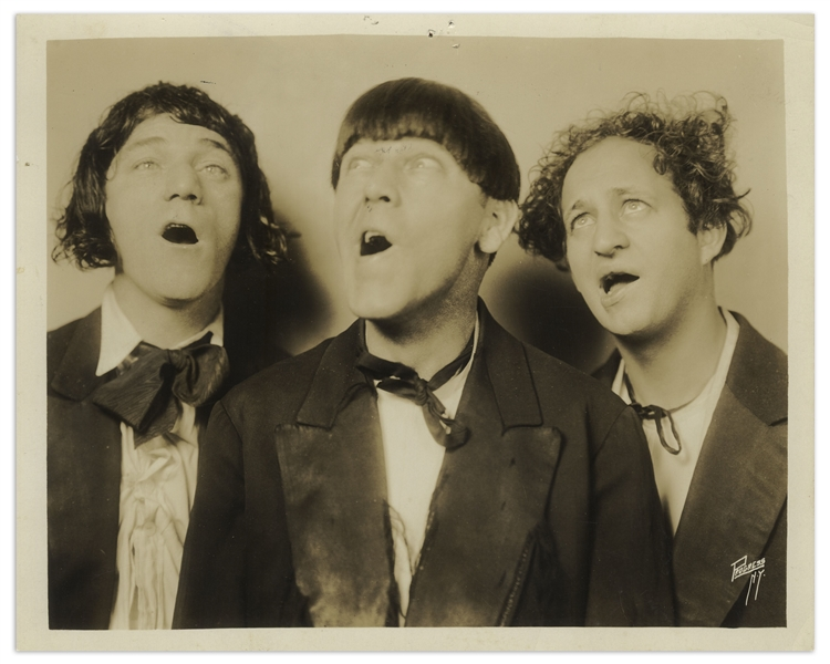 10 x 8 Half-Glossy Photo of Moe, Larry & Shemp as The Three Racketeers, From 1931 -- Very Good Plus Condition