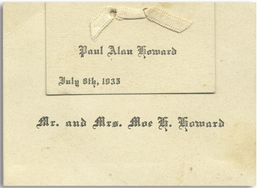 Birth Announcement for Moe Howard's Son Paul Alan, Born July 8th, 1935 -- Measures 3.5'' x 2.5'' -- Very Good Plus Condition