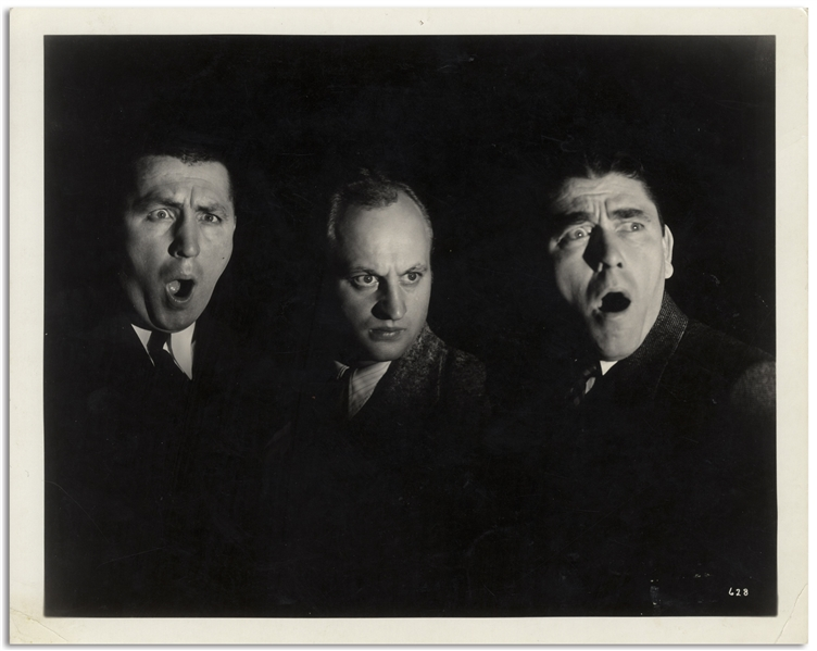 Clarence Sinclair Bull 10 x 8 Semi-Glossy Portrait of Moe, Larry & Curly -- Done for MGM, Circa 1934 -- Very Good Plus Condition