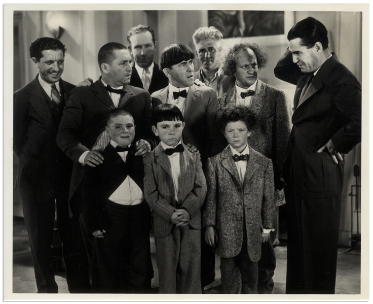 10 x 8 Glossy Publicity Photo of Deleted Scene From the 1934 Three Stooges Film Three Little Pigskins Showing The Stooges With Their On-Screen Sons & the Boys' Real Fathers -- Very Good Plus