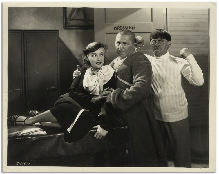 10 x 8 Glossy Photo From the 1934 Three Stooges Film Punch Drunks -- Very Good Condition