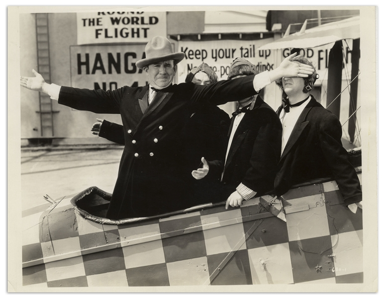 10 x 8 Glossy Photo of Moe, Larry, Curly & Ted Healy From the 1933 Film Plane Nuts -- Very Good Condition