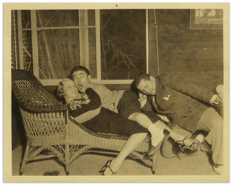 Moe Howard's Personal 10'' x 8'' Photo From 1933 With His Wife Helen & Curly -- Matte Photo in Very Good Condition
