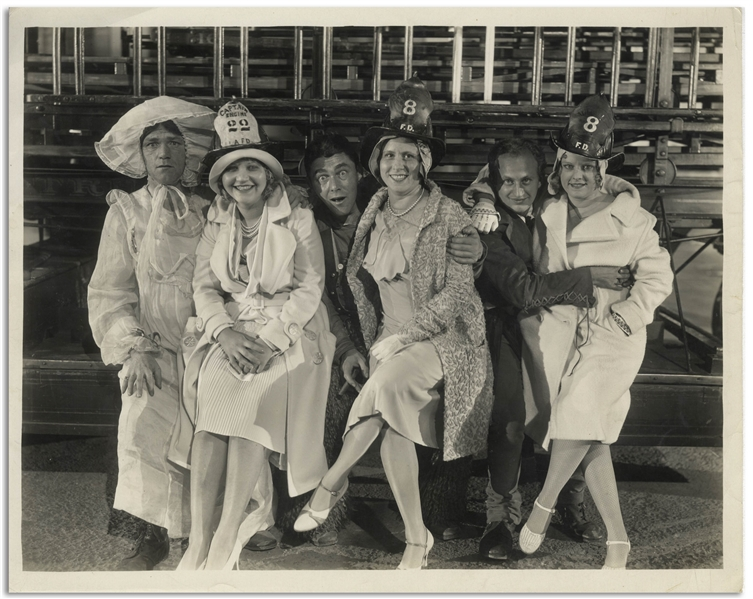 10'' x 8'' Glossy Photo of Moe, Larry & Shemp With Their Wives While Working on the 1930 Film ''Soup to Nuts'' -- Very Good Condition