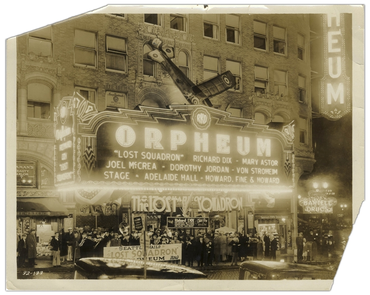 Howard, Fine & Howard 10'' x 8'' Glossy Photo From 1931 of Their ''First Vaudeville Date...in lights on Marquis'' at Seattle's RKO-Orpheum -- Loss to Upper Left & Lower Right Corners, Good Condition