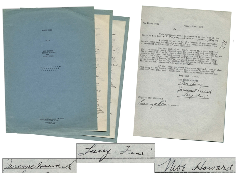The Three Stooges Signed Contract From 1943 With Their Manager Harry Romm -- With Curly's Signature