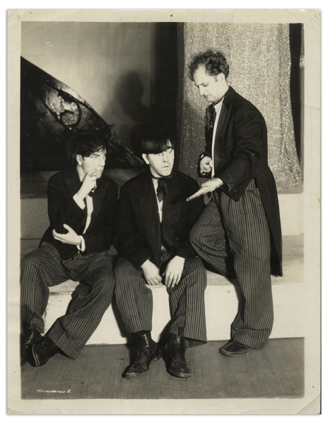 8 x 10 Glossy Photo of Moe, Larry & Shemp as The Three Racketeers, From the 1931 Stage Performance of Masquerade -- Very Good Condition