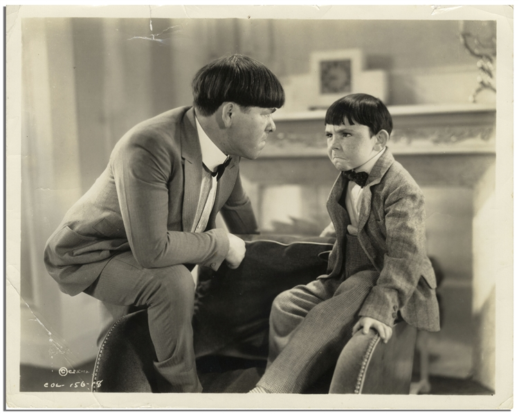 10 x 8 Glossy Photo of Moe With His On-Screen Son From the Famous Deleted Scene From the 1934 Three Stooges Film Three Little Pigskins -- Good to Very Good Condition