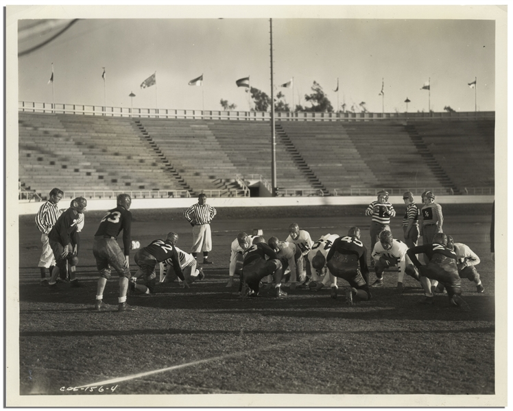 10 x 8 Glossy Photo From the 1934 Three Stooges Film Three Little Pigskins at Gilmore Field in Hollywood -- Very Good Condition