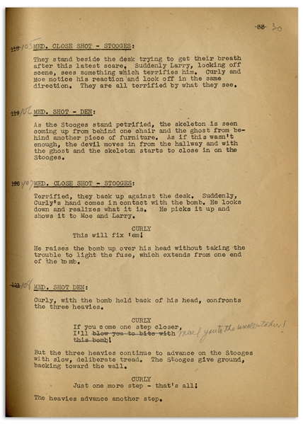 Moe Howard's 33pp. Script Dated June 1942 for The 1943 Three Stooges Film ''Spook Louder'' -- With Annotations in Moe's Hand & Additional 2pp. Shooting Schedule -- Very Good Condition