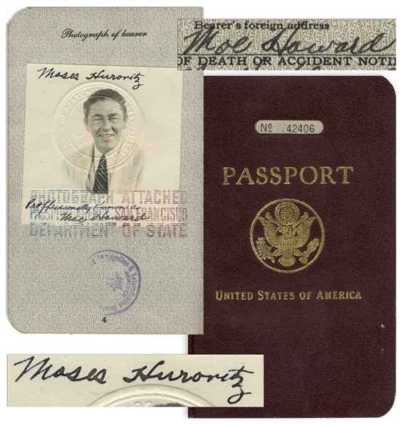Moe Howard's Passport From 1939, Used for His Trip to the United Kingdom to Perform With The Three Stooges -- Signed Six Times, as Both Moe Howard & Moses Hurovitz