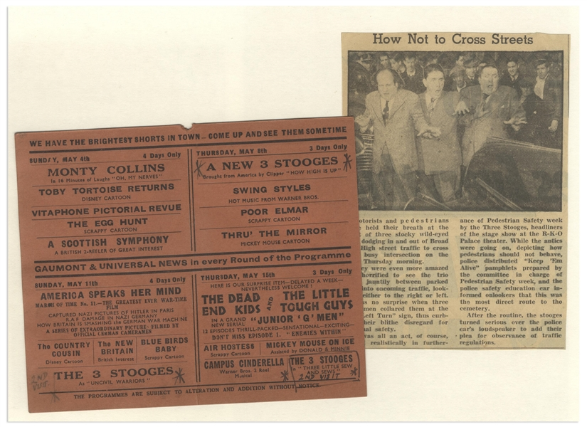 Moe Howard's 1941 Flyer for the Victoria Circus Theater in the UK, Showing 3 Shorts Starring The Three Stooges, Also With News Clips Regarding a Pedestrian Safety Event -- 6 x 5 Flyer Is Very Good