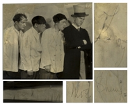 Signed Photo of Ted Healy and His Southern Gentlemen, Signed by Moe, Larry, Shemp & Ted Healy -- Photo From 1925 Measures 10 x 8.75