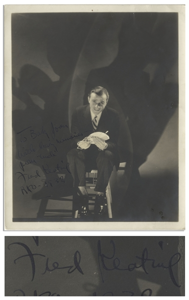 Magician Fred Keating Signed 8'' x 10'' Matte Photo, Inscribed to Moe's Daughter -- Also With Moe's Newspaper Clipping From 1932 of Howard, Fine & Howard Co-Headlining With Fred Keating -- Very Good