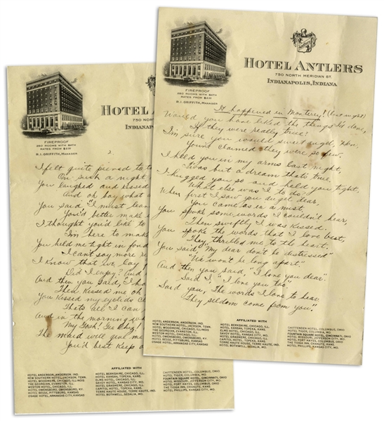 Moe Howard Handwritten Poem to His Wife, Entitled ''It happened in Monterey! (last night)'' -- 2pp. Poem on 2 Sheets of 6'' x 9.5'' Hotel Antlers Stationery From Indianapolis -- Very Good Condition