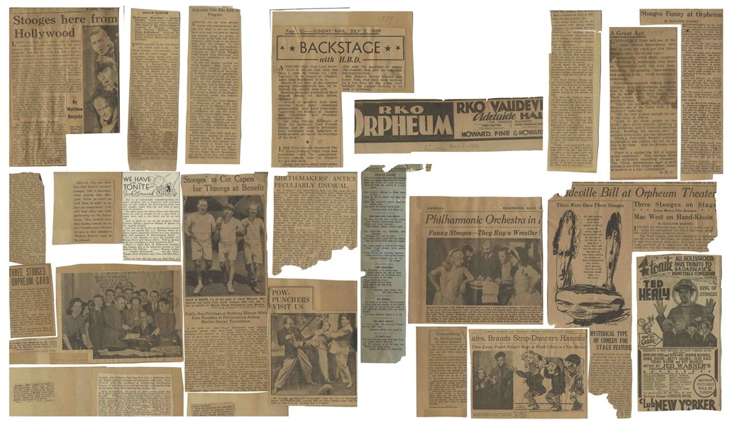 Moe Howard's Newspaper Clippings From the 1930s -- Dozens of Clippings, Some Glued to Board Regarding Their Shows in London in 1939, and Earlier From 1934 -- Very Good