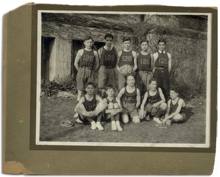 Curly Howard Photo of His Basketball Team, PS 128 in 1918 -- Matte Photo Measures 8.5'' x 6.5'' in 10.5'' x 8.25'' Mount -- Wear to Mount, Photo Is Very Good