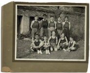 Curly Howard Photo of His Basketball Team, PS 128 in 1918 -- Matte Photo Measures 8.5 x 6.5 in 10.5 x 8.25 Mount -- Wear to Mount, Photo Is Very Good