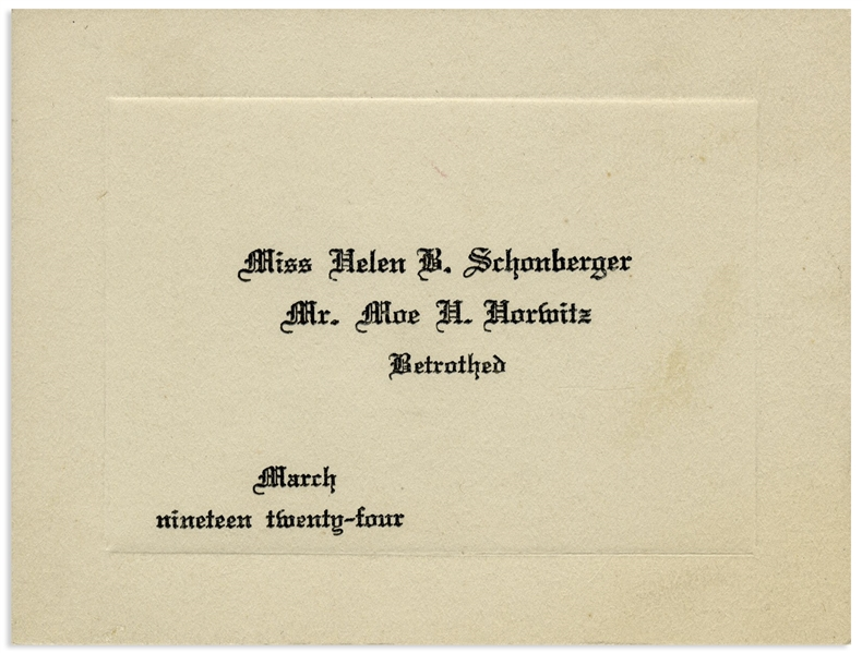 Moe Howard's ''Betrothed'' Engagement Card From 1924