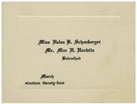 Moe Howards Betrothed Engagement Card From 1924
