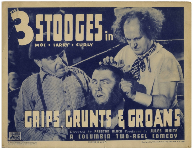 Lobby Card for the 1937 Three Stooges Film ''Grips, Grunts & Groans'' Starring Curly -- Measures 14'' x 11'' -- Creasing at Corners, Small 1'' Closed Tear at Bottom & Light Toning; Overall Very Good