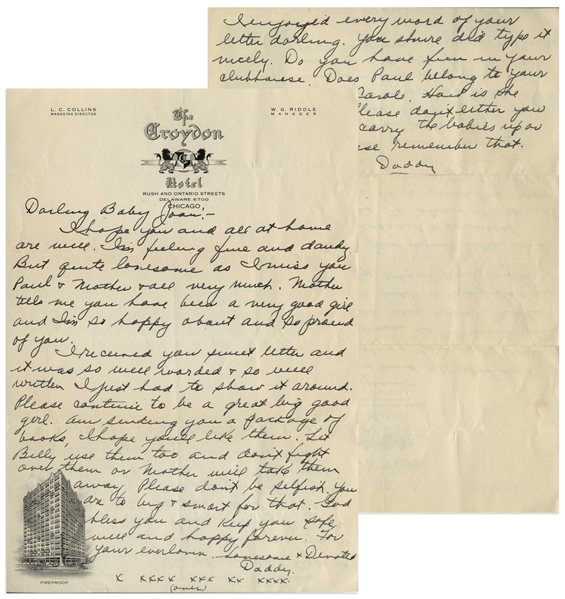 Moe Howard Autograph Letter Signed ''Daddy'' to His Daughter Joan, Circa 1930s -- 2pp. Letter on Single 7.25'' x 10.5'' Sheet Is Near Fine